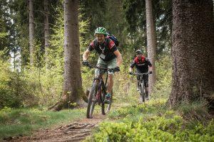 Mountainbiker / Fahrrad fahren am Bleilochstausee / der Bleilochtalsperre